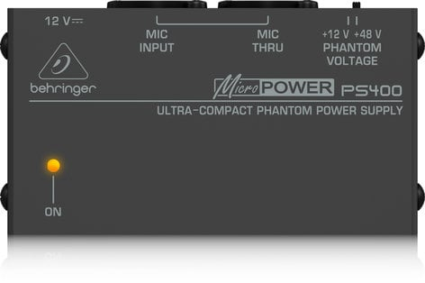 Behringer PS400-MICROPOWER Phantom Power Supply, Compact PS400-MICROPOWER