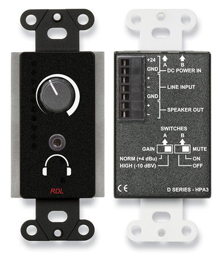 RDL DB-HPA3 3.5W Single-Gang Wall-Mounted Audio Power and Headphone Amplifier, Black DB-HPA3