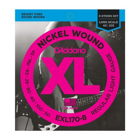 D`Addario EXL170-8  Nickel Wound String Set for 8-String Bass, Light, 32-130, Long Scale EXL170-8