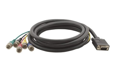 Kramer C-GM/5BM-1 15-pin HD Male to 5-BNC Male Breakout Cable, 1 Foot C-GM/5BM-1