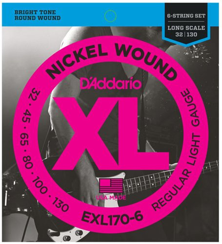 "D`Addario EXL170-6 .032-.130"" XL Nickel Long Scale Electric Bass Strings EXL170-6"