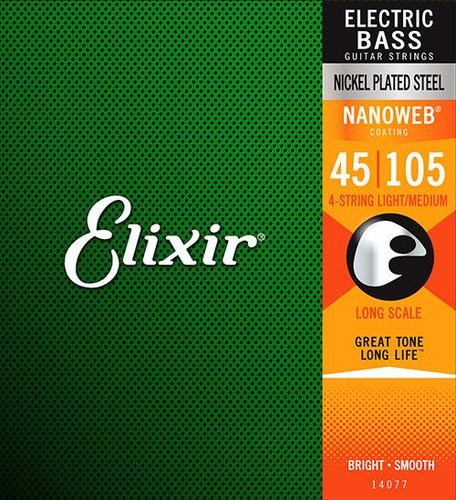Elixir Strings 14052 Light Long Scale Electric Bass Strings with NANOWEB Coating 14052