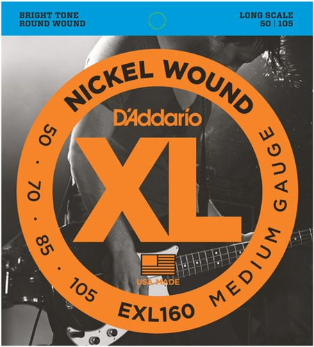 D`Addario EXL160TP 2 Pack of Medium Nickel Wound Long Scale Electric Bass Strings EXL160TP