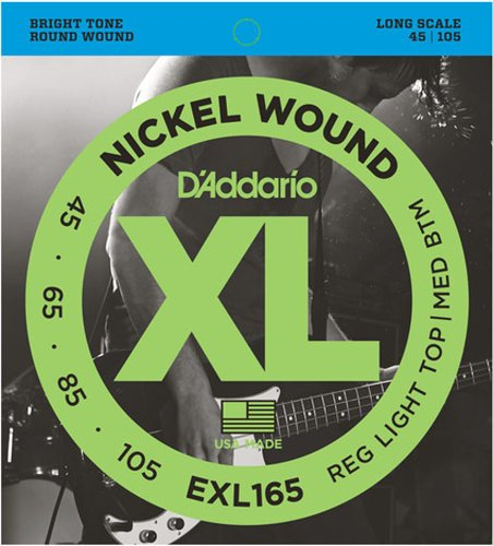 D`Addario EXL165TP 2 Pack of Light Top/Medium Bottom Long Scale Electric Bass Strings EXL165TP