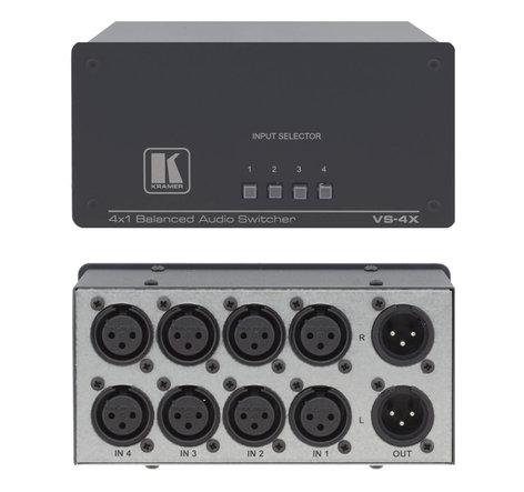 Kramer VS4X 4x1 Balanced Audio Switcher VS4X