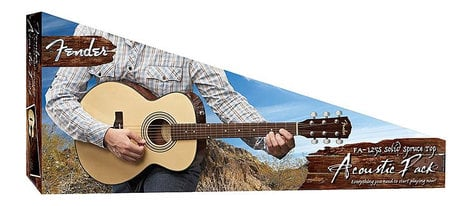 Fender FA-125S-PACK FA-125S Folk Pack Folk-Sized Acoustic Guitar, Natural Finish FA-125S-PACK