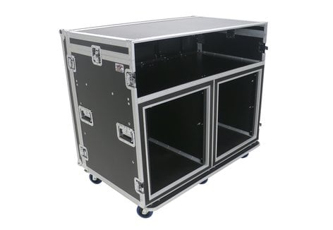 Elite Core ATA-FOH-2SL  OSP Deluxe Front of House System with Dual 12RU Racks and Standing Lid Tables ATA-FOH-2SL