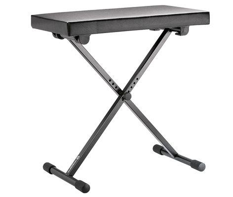 K&M Stands 14065-000-55 Height-Adjustable Keyboard Bench in Black Leather 14065-BLACK