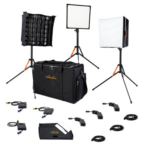 "Aladdin BI-FLEX1 - 3 Light Kit with Case Three 50W 12 x 12"" Flexible Bi-Color LED Panels with Case and Accessories AMS-FL50BI-KIT3-SC"
