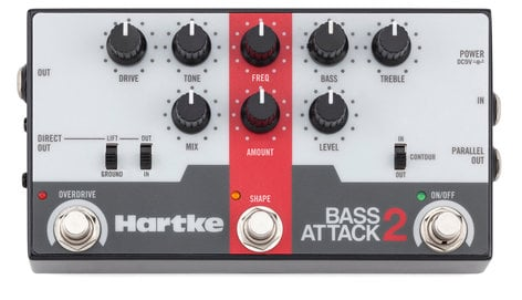 Hartke BASS-ATTACK-2 Bass Attack 2 Bass Preamp/Direct Box with Overdrive  BASS-ATTACK-2