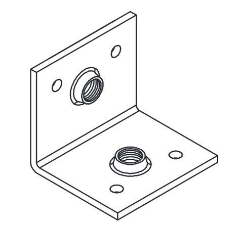 Allen CB-M10-02  M10 x 1.5mm Internal Corner Brace in Bright Zinc CB-M10-02