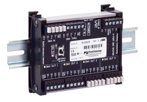 Pathway Connectivity P1002 1002 Opto-Splitter 4-Way eDIN Opto-Splitter with DIN Rail P1002