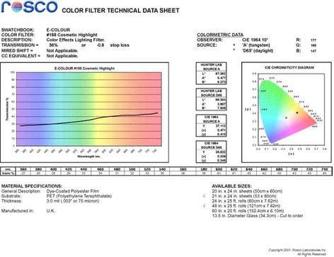 """Rosco E-COLOUR-188-SHEET E-Colour+ 188 21"""" x 24"""" Sheet of Cosmetic Highlight Gel E-COLOUR-188-SHEET"""