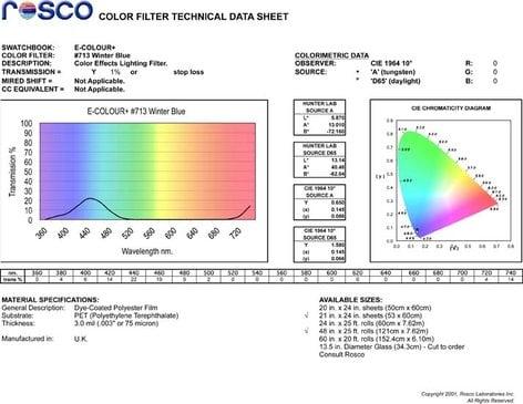 """Rosco E-COLOUR-713-SHEET E-Colour+ 713 21"""" x 24"""" Sheet of Winter Blue Gel E-COLOUR-713-SHEET"""