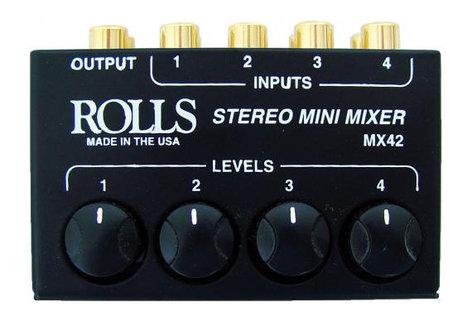 Rolls MX42 [RESTOCK ITEM] 4-Input Passive Stereo Mini Mixer MX42-RST-01