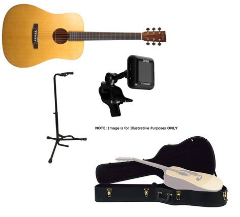 Recording King RD-A3M-PK3-K Guitar Bundle RD-A3M Guitar + Hard Case, Stand, and Tuner RD-A3M-PK3-K