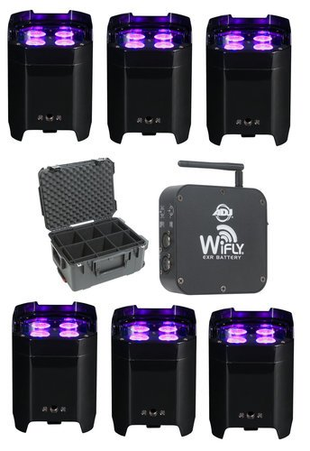 ADJ LED Uplight Package with Wireless Transceiver and Case ELEMENT-HEX-6PACK-K