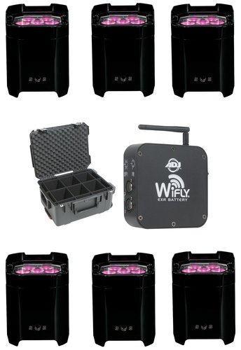 ADJ LED Uplight Package with Wireless Transceiver and Case ELEMENT-QA-6PACK-K