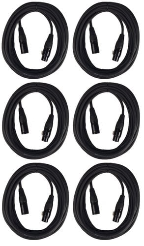Cable Up MIC-20-SIX-K MIC-20 Bundle (6) Pack Of MIC-20 XLR Microphone Cables