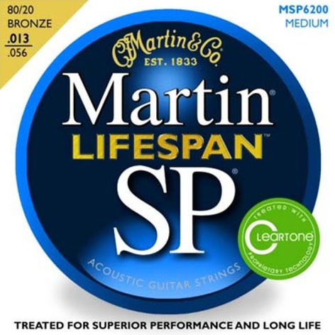 Martin Strings MSP6200 SP Lifespan Series Medium 80/20 Bronze Acoustic Guitar Strings MSP6200