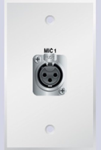PanelCrafters PC-G1300-E-S-W  Single Gang Wall Plate with (1) 3-Pin Female XLR Connector, White PC-G1300-E-S-W