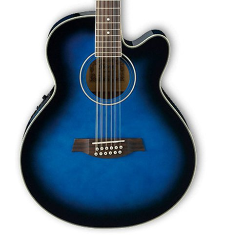 Ibanez AEL1512ETBS Transparent Blue Sunburst High Gloss AEL Series Cutaway 12-String Electric/Acoustic Guitar with SPT Preamp AEL1512ETBS