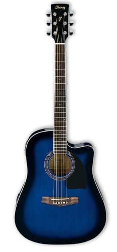 Ibanez PF15ECE-TBS Acoustic-Electric Guitar with Transparent Blue Sunburst Finish PF15ECE-TBS
