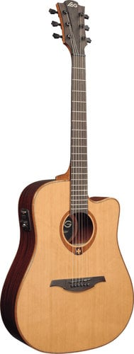 Lag Guitars T100DCE Acoustic/Electric Guitar, Dreadnought Cutaway, Solid Red Cedar Top, Dark Mahogany Back & Sides, Gloss Finish T100DCE