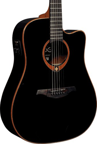 Lag Guitars T100DCEBLK Acoustic/Electric Guitar with Dreadnought Cutaway, Solid Red Cedar Top, Dark Mahogany Back & Sides, and Black Gloss Finish T100DCEBLK