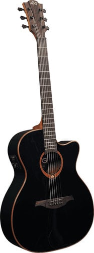 Lag Guitars T100ACE Acoustic/Electric Guitar with Auditorium Cutaway, Solid Red Cedar Top, Dark Mahogany Back & Sides, and Gloss Finish T100ACE