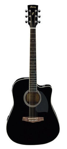 Ibanez PF15ECE-BK Electric Acoustic Guitar with Black Finish PF15ECE-BK