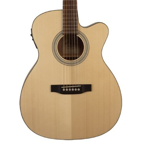 Recording King ROM-06-CFE4 Matte Natural Cutaway 000-Style Acoustic Guitar with Fishman Preamp ROM-06-CFE4