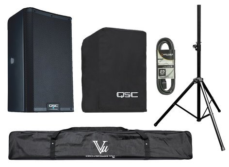 QSC K8.2-SINGLE-K Powered Speaker Bundle with Cover, Stand, Stand Bag, XLR cable, Plug Strip and Extension Cord K8.2-SINGLE-K