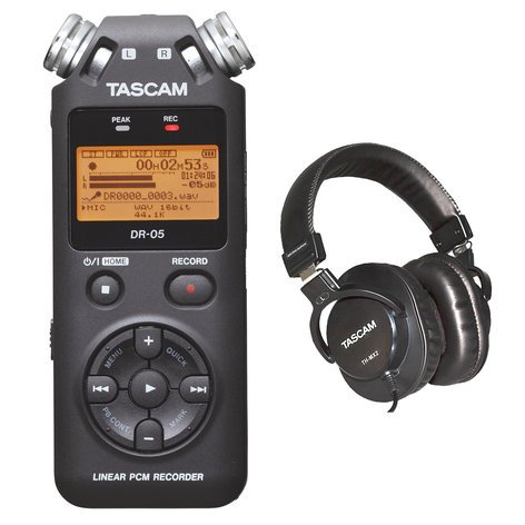 Tascam Digital Stereo Recorder With FREE TH-MX2 Headphones DR-05/TH-MX2-K