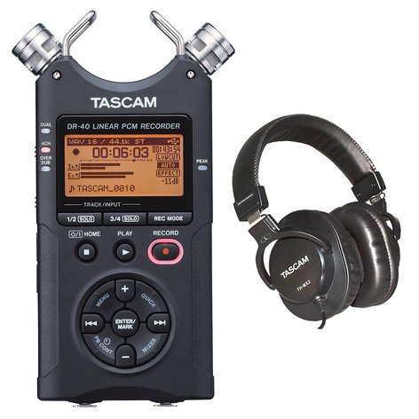 Tascam 4-Track Mobile Digital Recorder With FREE TH-MX2 Headphones DR-40/TH-MX2-K