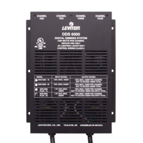 Leviton N600P-000 DDS 6000+ 4-Channel Digital Dimmer, 1200W per Channel, with 15A Power Supply Cord N600P-000