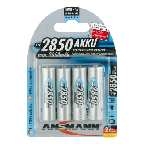Ansmann USA AA Rechargeable 4-Pack, 2850 mAH AA-RECHARGEABLES-4PK