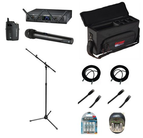 Audio-Technica Wireless Combo System Bundle with Case, Rechargeable Batteries with Charger, Mic Stand, XLR Cables and CAT6 Cables ATW-1312-DUAL-K