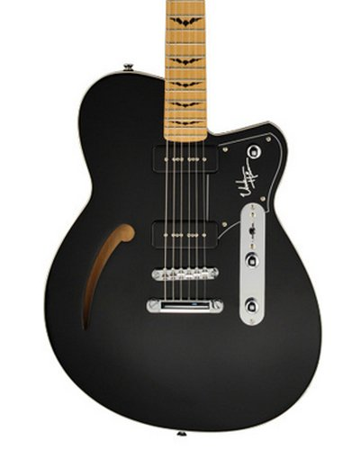 Reverend UH-BLACK Unknown Hinson Midnight Black Signature Semi-Hollowbody Electric Guitar with Coffin Gig Bag UH-BLACK