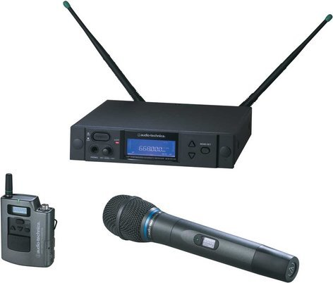 Audio-Technica AEW-4313AC [RESTOCK ITEM] Wireless Bodypack/Handheld Dual Microphone System, AEW-T3300a Cardioid Condenser Mic, Band C: 541.500 to 566.375 MHz AEW-4313AC-RST-01