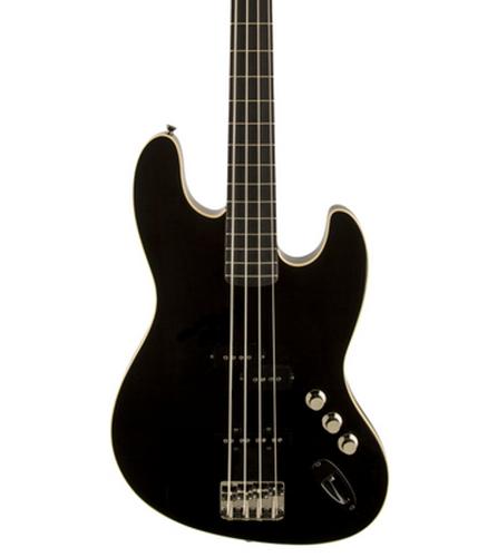 Fender JBASS-AERODYNE Aerodyne Jazz Bass Electric Bass with Rosewood Fingerboard, Black Finish JBASS-AERODYNE