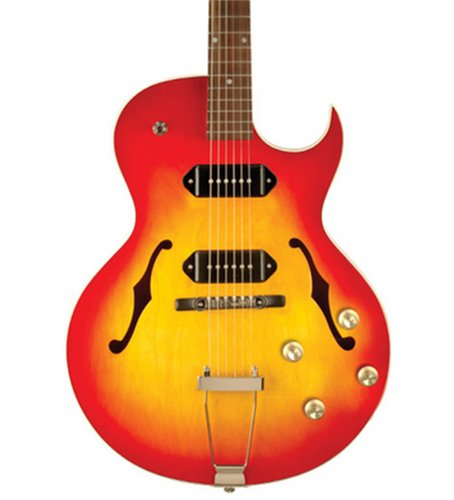 The Loar LH-302T Full-Hollow Thinbody Single Cutaway Archtop Guitar with Dual P-90 Pickups in Cherryburst Finish LH-302T-CCB