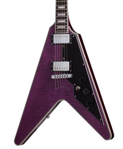 Schecter V1-CUSTOM-TPUR V-1 Custom Electric Guitar, Trans Purple Finish V1-CUSTOM-TPUR