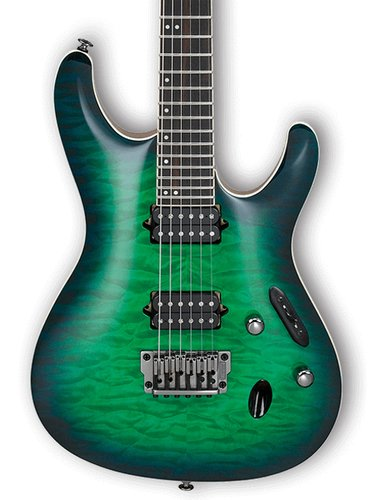Ibanez S6521Q-SLG Surreal Blue Burst Gloss Six String Electric Guitar with Case S6521QSLG