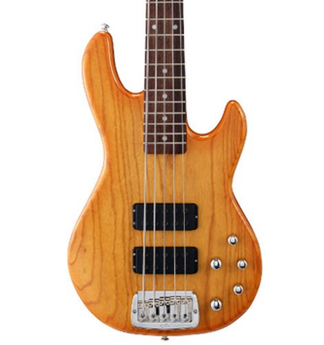 G&L M-2500-HB Honey Burst Tribute Series 5-String Electric Bass with Swamp Ash Body and Rosewood Fingerboard M-2500-HB