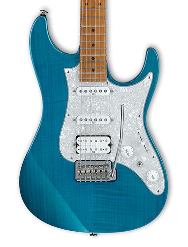 Ibanez AZ2204F AZ Prestige 6 String Electric Guitar with Case in Transparent Aqua Blue AZ2204F