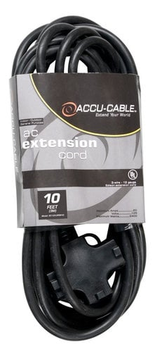 Accu-Cable EC-123-3FER10 12 AWG Power Extension Cable with 3 Outlets, 10 ft EC123-3FER10