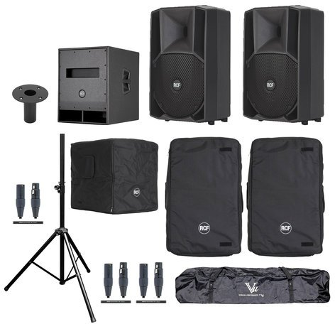 RCF ART-710A-SUB-K Speaker And Sub Bundle With ART 710A Speakers, SUB  705-AS Subwoofer, Covers, Stands And Cables
