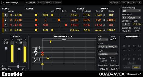 Eventide QUADRAVOX Quadravox [DOWNLOAD] 4-Voice Diatonic Pitch-Shifter  Plug-In