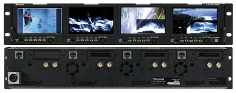 "Marshall Electronics OR-434 4x 4.3"" Rackmount Monitor Unit (2RU, with 5 Assignable Keys & Joystick Menu System) OR-434"